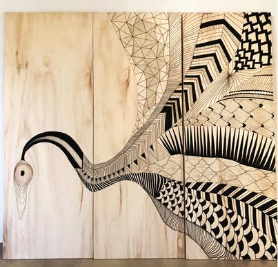 Arte abstrata realizada em 3 painéis de madeira para o escritório de paisagismo e design da Beatriz Caruso, em Piracicaba - SP.  Tamanho: 2.30x1.80m Material: canetas Posca  Novembro de 2017