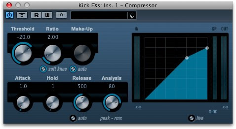 Figure 2: Steinberg Compressor in CUBASE