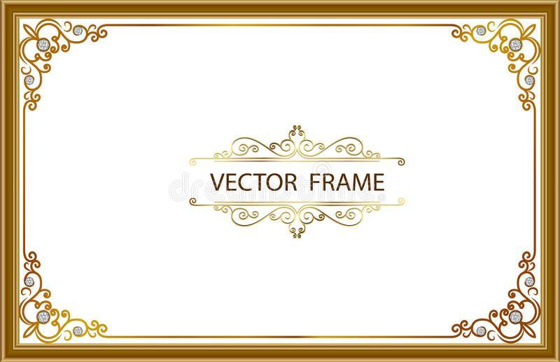 金与壁角泰国线的照片框架花卉为图片,传染媒介设计装饰样式样式-框架边界设计是pa