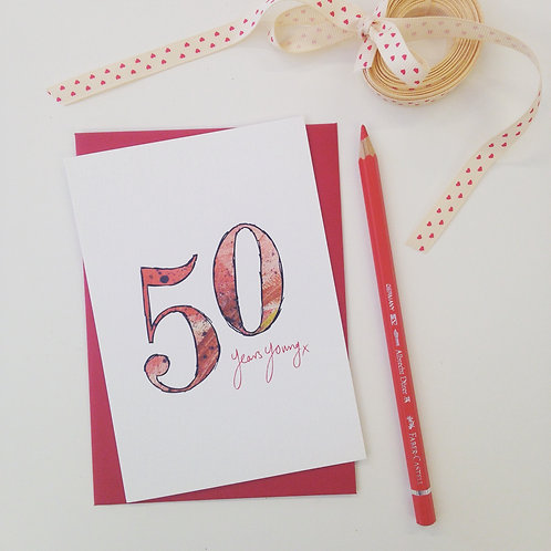 '50 years young' illustrated Greeting Card