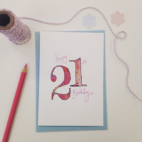'Happy 21st Birthday' illustrated Greeting Card