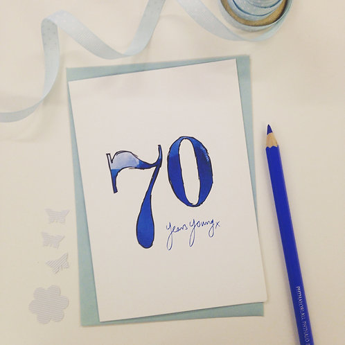 '70 years young' illustrated Greeting Card
