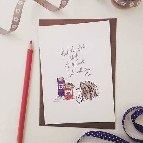 Get Well Soon - illustrated Greeting Card