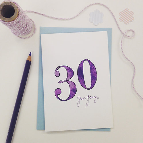 '30 years young' illustrated Greeting Card