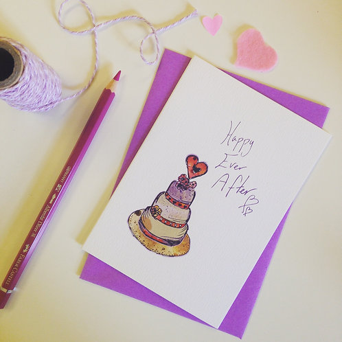 'Happy Ever After' illustrated Greeting Card