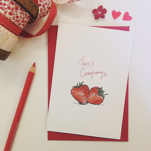 'Two's Company' illustrated Greeting Card
