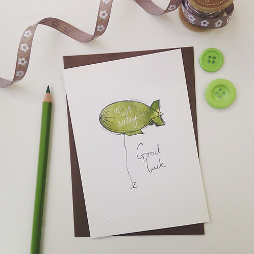 'Good Luck' illustrated Greeting Card