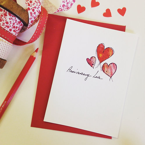 'Anniversary Love' illustrated Greeting Card