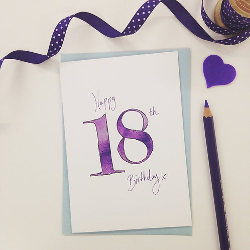 'Happy 18th' illustrated Greeting Card