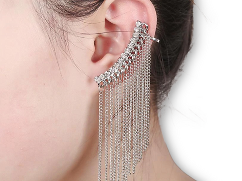 Diamond Studded Dangle Ear Cuff with Metal Chains