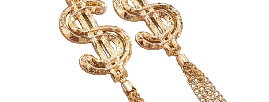 Gold Dollar Sign Drops Earrings