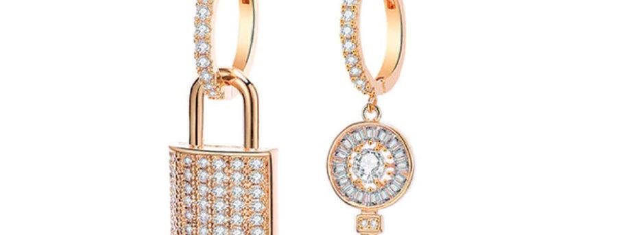 Sparkling Lock & Key Earrings