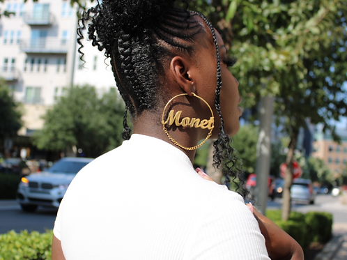 Name Earrings with Chain