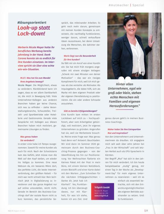 Interview Nicole Mayer im MUT-Magazin