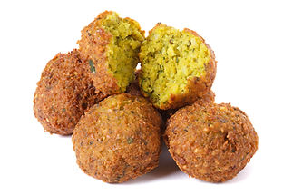 whole and half falafel isolated on a whi