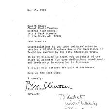 Letter of Commendation from Governor Bill Clinton