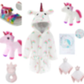 soft touch unicorn hooded fleece, toy, blanket, shoes, rattle