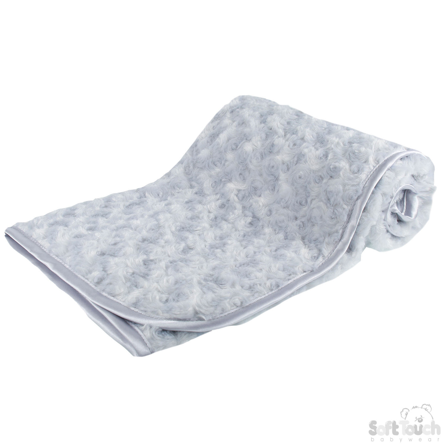 Infant's Rose-Bud Minky Wrap in Grey with Hanger and Ribbon