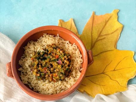 Lentejas con verduras y arroz integral