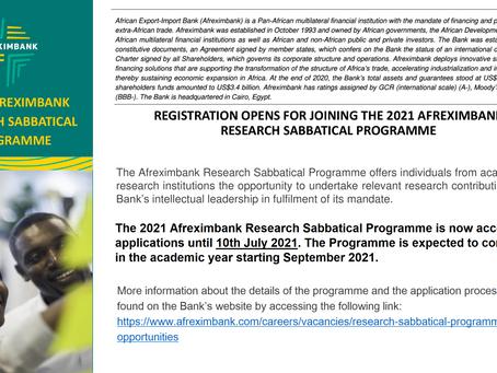 Afreximbank Research Sabbatical Programme (RSP) – How to Apply