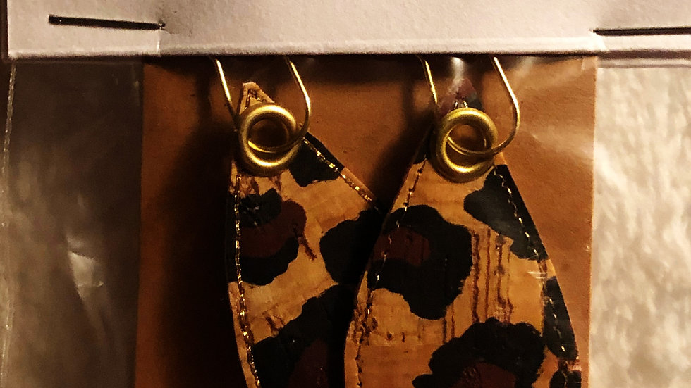 Cork with Fabric Earrings with Gold Embroideed Stitching ©® ID# 6716461765