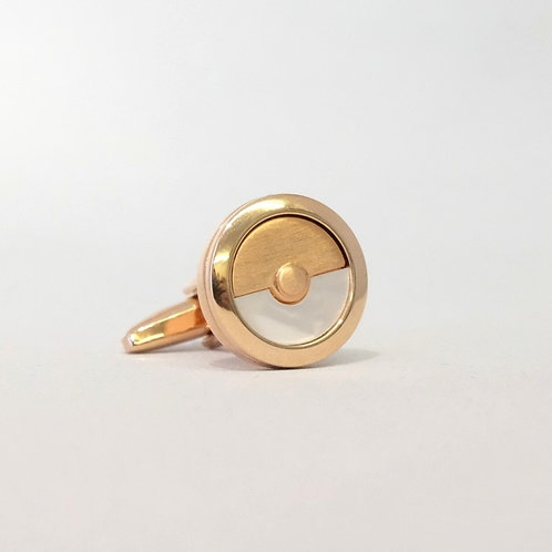Round Rose Gold and Mother Of Pearl Cufflinks