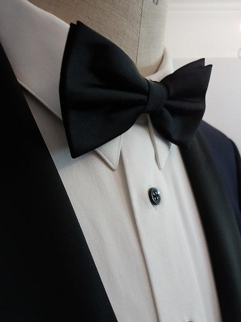 Black Silk Clip-On Bow Tie