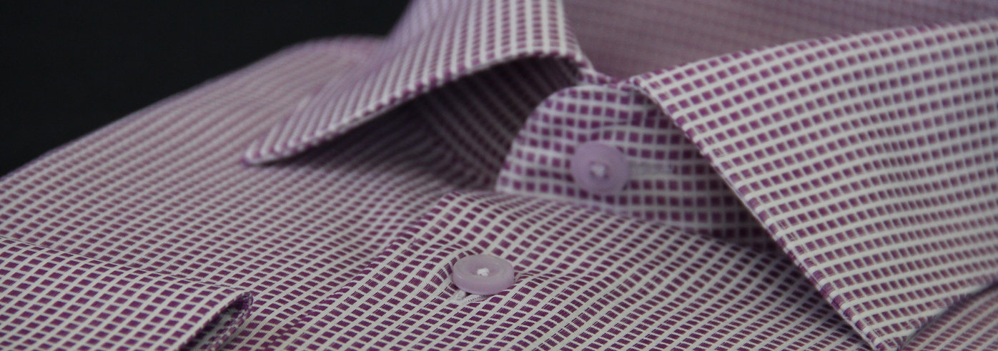 purple bespoke shirt, houston shirt, purple checks