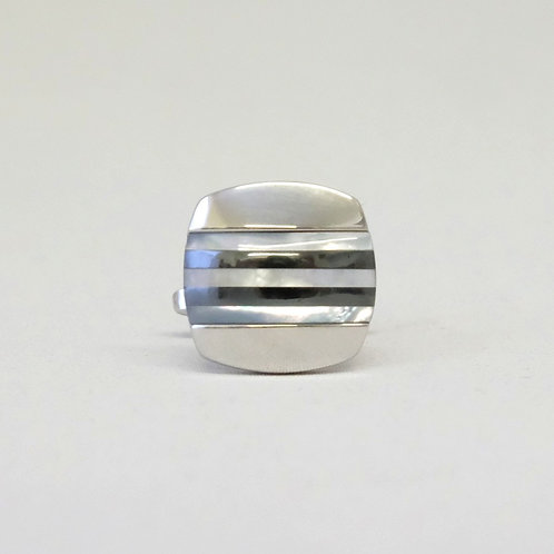 Striped Mother Of Pearl and Hematite Cufflinks