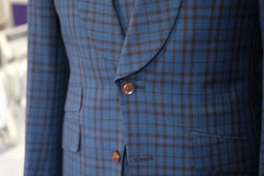 Black and blue three piece suit with sha
