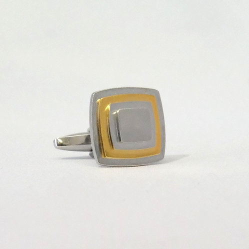Multi-Layer Square Cufflinks With Gold