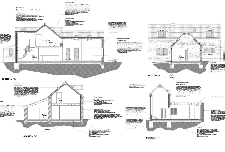 Building Regulations CAD detailed design somerset tender drawings low energy
