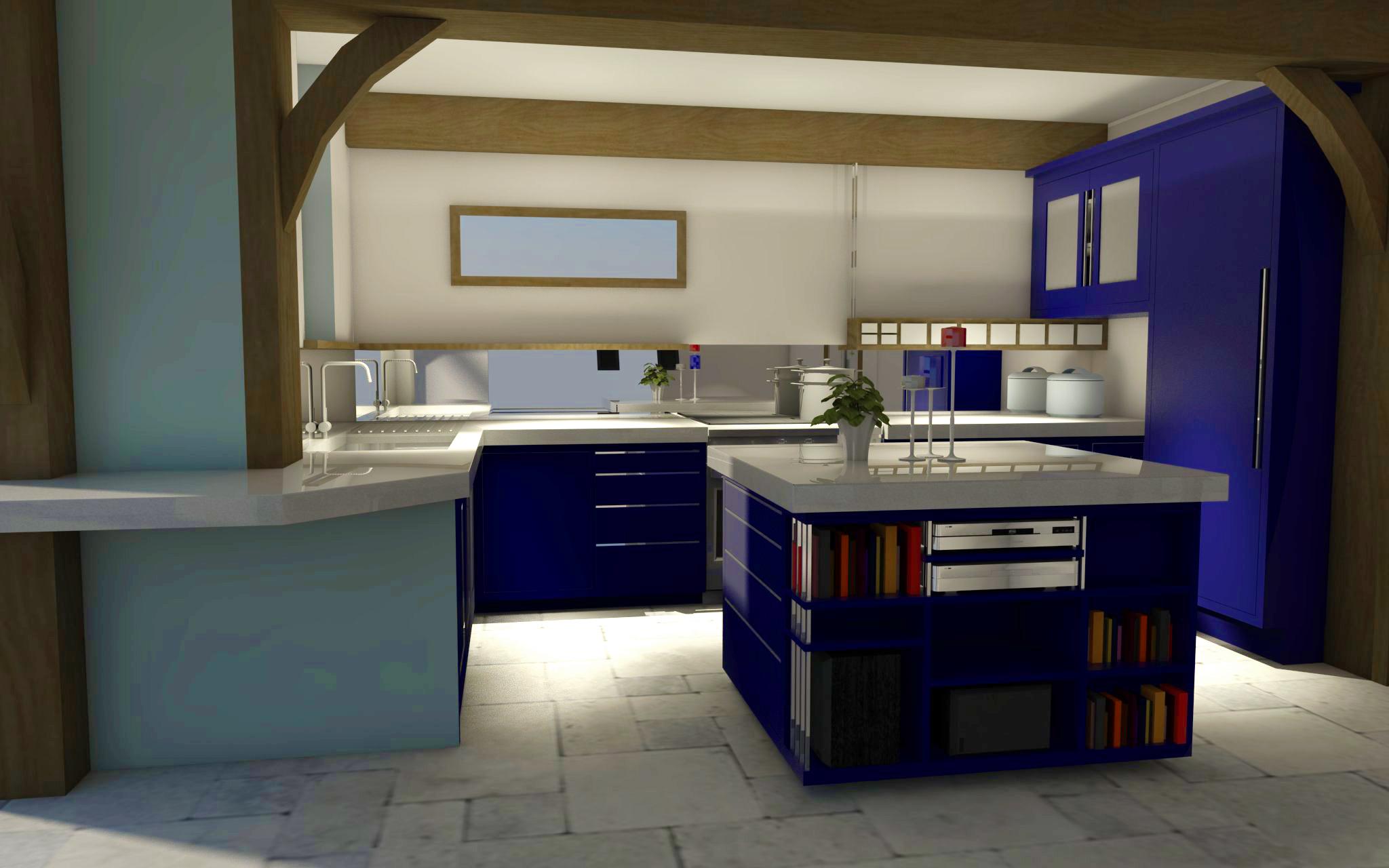 modern kitchen design interior 3D visualisation somerset