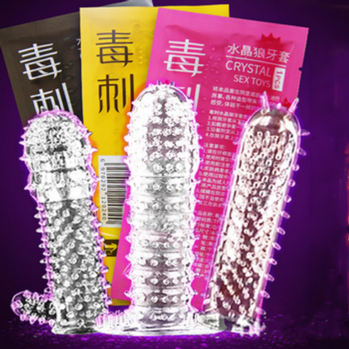 Male Full Cover Penis Sleeve Crystal Condom Delay Long Lasting Penis Extension.