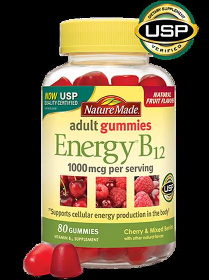 Nature Made Energy‡ B12 Adult Gummies contain 1000 mcg vitamin B12 per serving