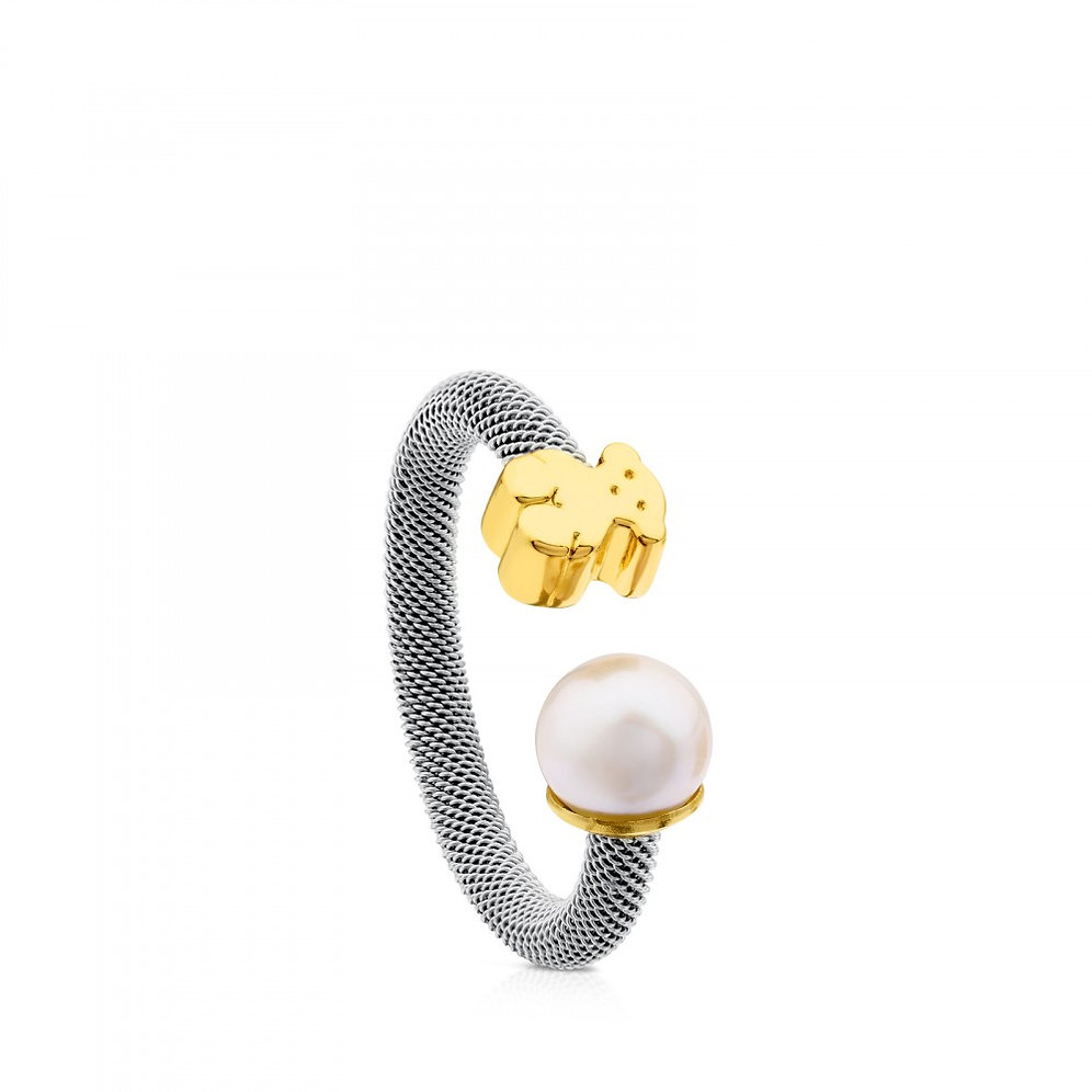 b6054055d4656 Gold and Steel Icon Mesh Ring   mykonos