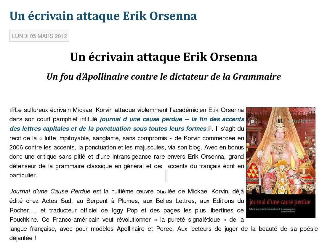 1 - Un éscrivain attaque Erik Orsenna