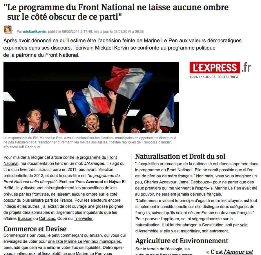 3. Marine Le Pen (son programme)