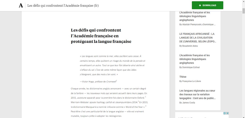 les défis qui confrontent l'académie française enprotégeant la langue française