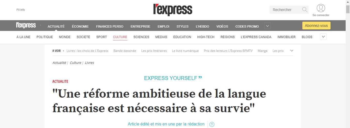 Une réforme ambitieuse de la langue française est nécessaire à sa survie