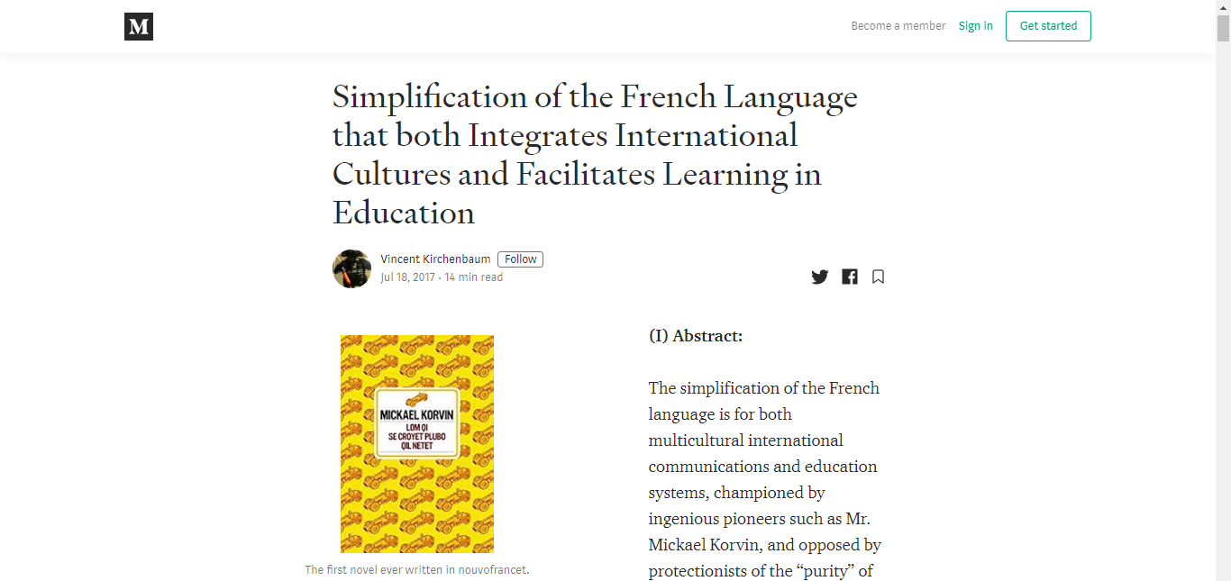 Simplification of the French Language that both Integrates International Cultures and Facilitates Learning in Education