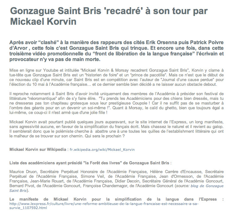5 - Gonzague Saint Bris 'recadré' à son tour par Mickael Korvin