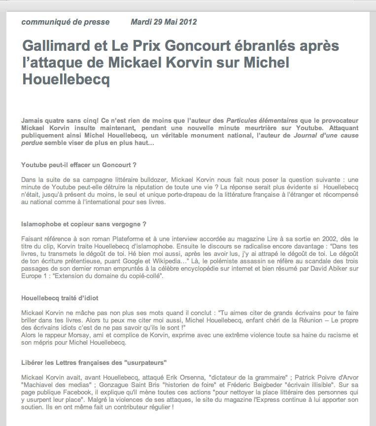 8 - Gallimard et Le Prix Goncourt ébranlés après l'attaque de Mickael Korvin sur Michel Houellebecq