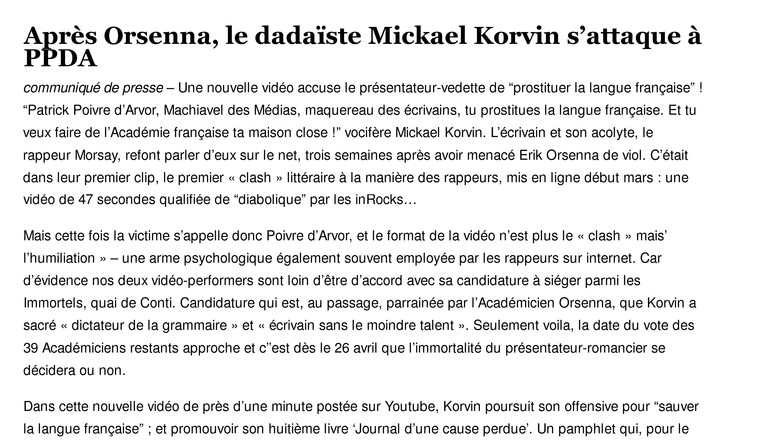 4 - Après Orsenna le dadaïste Mickael Korvin's 'attaque à PPDA