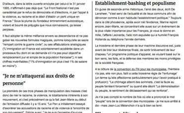2. Marine Le Pen (son discours)