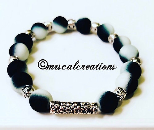 Black and White Frost Men's Bracelet