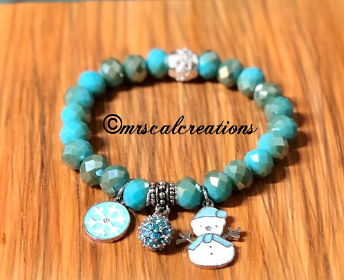 Winter Blue Snowflake Bracelet