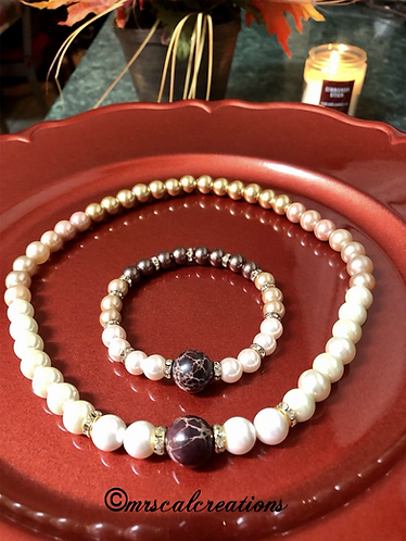 Multicolored Pearl Necklace And Bracelet Set!