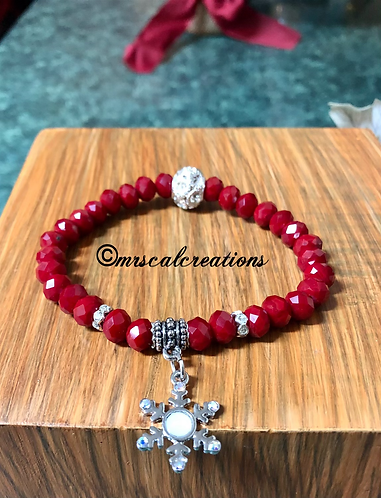 Red And White Snowflake Bracelet