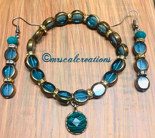 Aqua Blue Earrings And Bracelet Set!